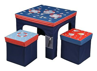 Childrens Kids Folding Table And Two Chairs Stool Set Foldable storage Furniture