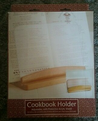 Wooden Adjustable Cookbook Holder with Protective Acrylic Shield