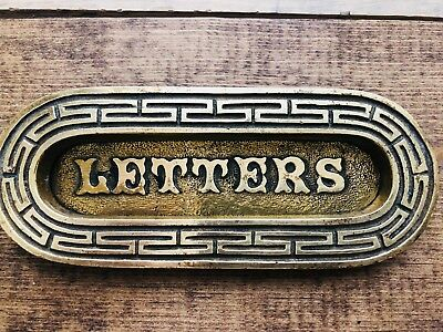 Antique Vintage LETTERS MAIL Slot solid brass/bronze hinged Plate Art Decor