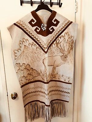 Vintage Etched Deer Suede Leather Poncho w/Fringe Western/Mexico/Indian XL XXL