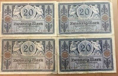 4 Reichsbanknoten 20 Mark  4. November 1915