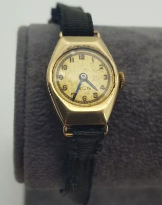 Recta Ladies Vintage Swiss Made 9ct Gold Watch Working Wind Up