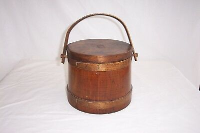 Antique Shaker Wooden Cookie/Pantry Bucket with Wooden Lid and Handle