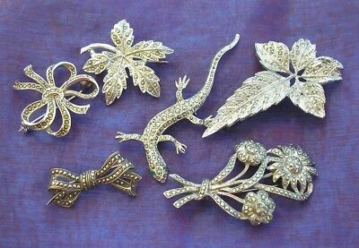 6 beautiful vintage 1950's Marcasite set brooches Lizard, flowers, Silver etc