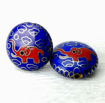 Vintage Rare Blue Red Elephant Cloisonne Chinese Enamel 19mm Coin Bead 2Pcs
