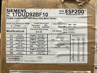Siemens 17DUD92BF10 Fusible Combination Starter ** New In Box, Free Shipping **