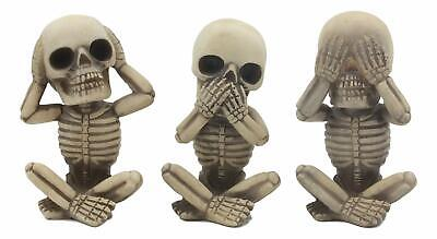 Whimsical See Hear Speak No Evil Baby Skeletons Statue 3-Pc Set Figurine