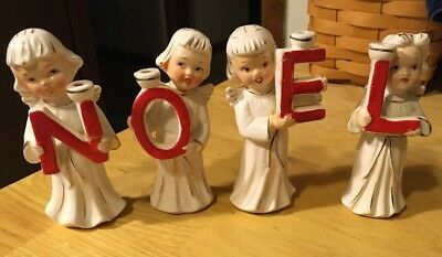 Vintage Noel Hand Painted Angel Candle Holders Relco