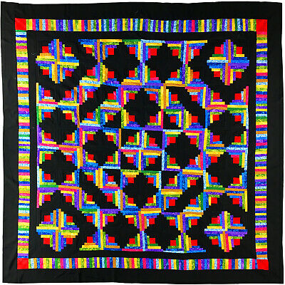 Multi Colored, Log Cabin QUILT TOP - Free Form Modern Pattern