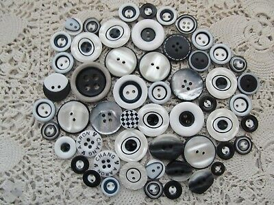 Lot Of 50 Black/blue & White Two-Toned Plastic Buttons