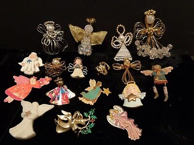 Vintage Angel Pin Brooch Lot of 16 Religious Guardian Angels Jewelry Pins Lenox