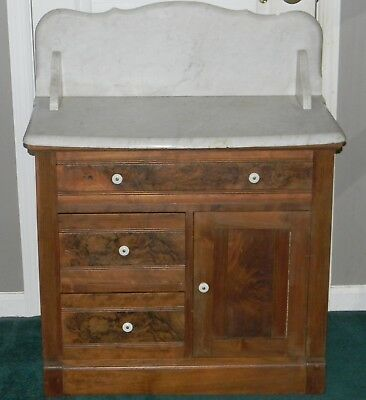 Antique Victorian Walnut Marble Top Wash Stand Dry Sink Cabinet Cupboard Table