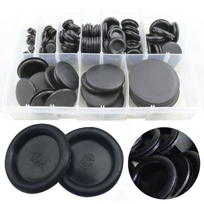 130X Black 6-50mm Rubber Closed Blind Blanking Hole Wire Cable Grommets with Box