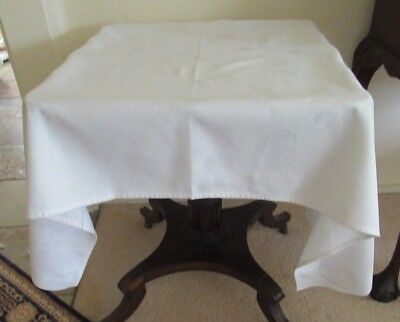 Vintage WHITE DAMASK TABLECLOTH Small Oblong clean cloth Nice condition used