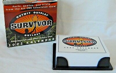 SURVIVOR TV COLLECTIBLE 2002 DESK CALENDAR~NEW NEVER USED, Tidbits Facts Quotes