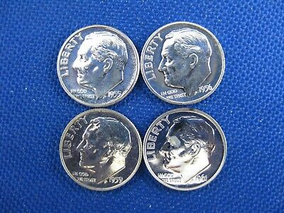 4  Pc U.s. Proof Silver Roosevelt Dime Coin Lot 1955 1956 1959 1961