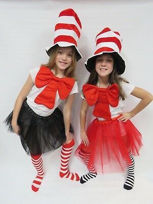 Cat In The Hat Girls Complete Costume BLACK TUELL, Great For Book Week