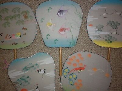 Lot Of 5 Vintage Chinese Hand Painted Fans Good Condition