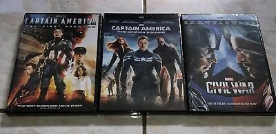 Captain America Trilogy First Avenger, Winter Soldier, and Civil War! DVD!
