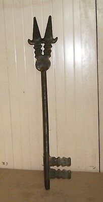 Huge Prison Door Lock Key Heavy Hand Engraving Collectors See Rare