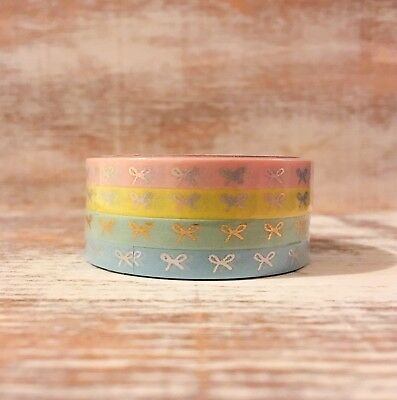NIP SIMPLY GILDED 5mm Mini Candy Bows Pastel Washi Tape Rolls Set of 4 Sold Out