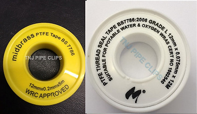 PTFE Tape Gas or Water for Thread Seal White Teflon Tape 12mm - Multi buy