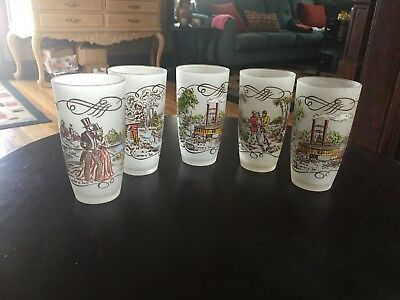 Currier And Ives 1900's Scenes Frosted Glasses Set Of 4 Scenes Vintage Old