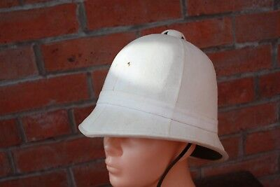 Vintage Victorian Style White Pith Sun Helmet Foreign Service Colonial Pattern