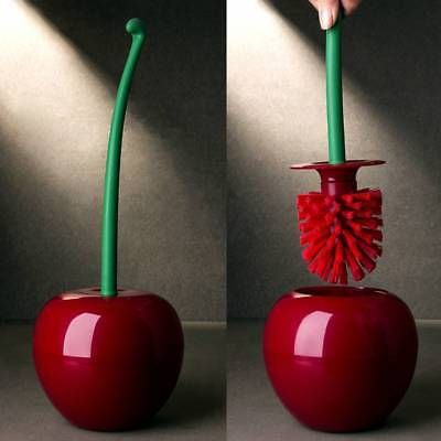 Creative Lovely Cherry Shape Lavatory Brush Holder Toilet Bathroom Cleaning Set