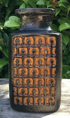 Vintage Retro Midcentury Strehla East German Pottery Brown Orange Geometric Vase