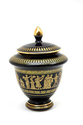 Vintage hand made 24ct Gold plated pottery urn Greek Black beautiful  gift