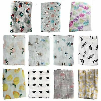 US Baby Boy Girl Muslin Cotton Wrap Swaddling Blanket Newborn Swaddle Towel New