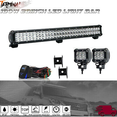"32""INCH LED Light Bar Combo fit Polaris Sportsman/RZR/Ranger ATV+wire+4"""