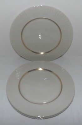"(Set of 4) Lenox CRETAN Gold Greek Key 10 3/4"" DINNER PLATES (Old GREEN MARK)"