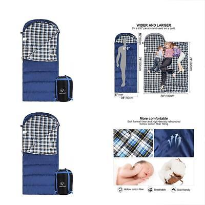 Cotton Flannel Sleeping Bag For Adults, XL 32F Comfortable, Envelope With Sack