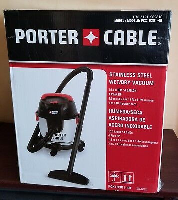 """PORTER CABLE Stainless Steel WET/DRY vacuum - New!! """"Open Box"""""""