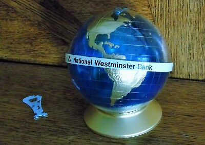 VINTAGE 1970s NAT WEST GLOBE WITH KEY - PERFECT ORIGINAL CONDITION - GOLD BASE