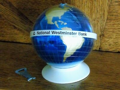 VINTAGE 1970s NAT WEST GLOBE WITH KEY - PERFECT ORIGINAL CONDITION - CREAM BASE