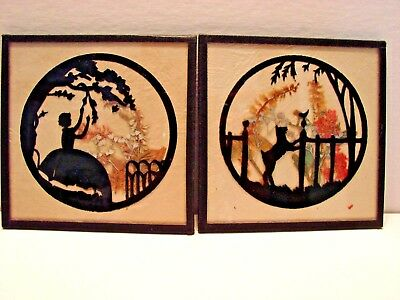 Vintage Pair Art Paintings Framed Reverse Painted Sillouettes Dog Bird Lady
