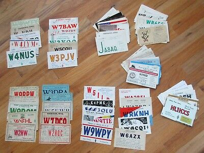 About 100 Ham Radio QSL Cards including (10)1930's, (10)1940's, (10)1950's +
