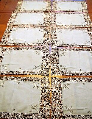 Vintage Placemats Needle lace Linen Embroidered Antique 10 pc Table Set Figural