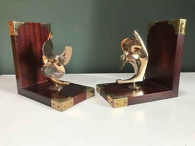 Marine Bookends each with rotating propeller, Fine Wood, Polished Brass
