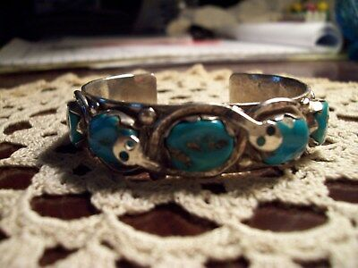 Snake Serpent TURQUOISE STERLING SILVER Zuni Tribe Effie Calavaza CUFF BRACELET