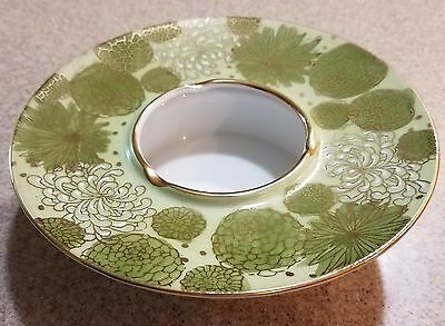 Antique Japanese Ashtray Green & White Flowers Gold Trim