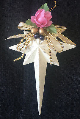 "Victorian Pink Rose Star of Bethlehem Christmas Ornament 5.5"" tall"