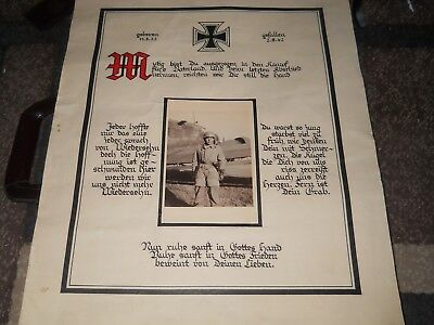 rare,huge 1942 death notice poster. fallschirmjager, large photo,great history**
