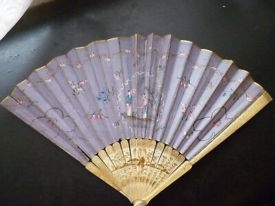 1700s 1800s CHINESE CHINA 18TH 19TH CENTURY HAND PAINTED FAN BONE HORN FRAME