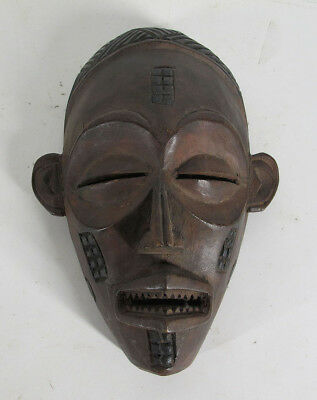 Vintage African Chokwe Tribe Hand Carved & Painted Wood Face Mask Angola #1 yqz