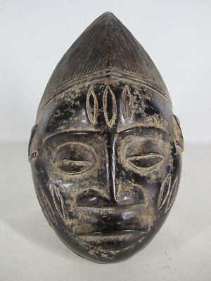 Vintage African Yoruba Tribe Hand Carved & Painted Wood Face Mask Nigeria #3 yqz