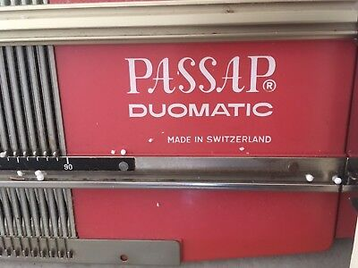 Vintage PASSAP Duomatic knitting machine, Made in Switzerland with books & stand
